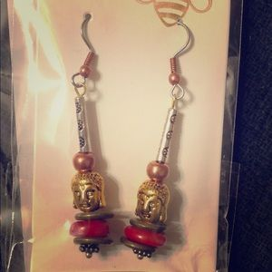 Buddha earrings w/ red Coral